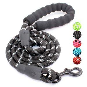 Pndwfr 5 FT Reflektierende Hundeleine, Beste Nylon Geflochtene Seil Leine, Hund Leine Training für Mittlere und Große Hunde,schwarz