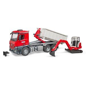 BRUDER MB Arocs LKW mit Abrollcontainer + Schaeff HR16 Minibagger Bagger 03624