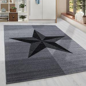 Kurzflor Design Teppich Stern Muster Wohnzimmer Kompassrose Grau Schwarz Meliert, Grösse:160x230 cm