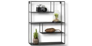 LIFA LIVING Eckiges Wandregal aus schwarzem Metall mit 4 Böden, Vintage Metallregal im Industrial Design mit 4 Etagen, Wanddeko Küchenregal Gewürzregal (55 x 45 x 11 cm)