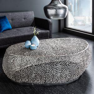cagü: Couchtisch [NUBE] Silber aus Aluminium im Aststruktur-Design handgefertigt 122cm Oval