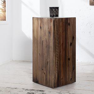 Hochwertige Dekosäule COLUMNA 50cm massive Akazie in Vintage Braun Beistelltisch Säulentisch