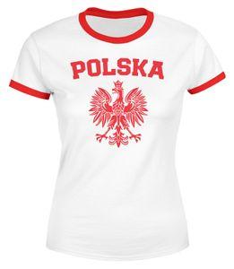 Damen WM-Shirt WM Polska Polen Poland Flagge World Cup Weißer Adler WM 2018 Moonworks®  weiß-rot L