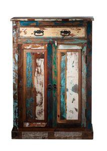 SIT Möbel Highboard | 2 Türen, 1 Schublade | Altholz lackiert bunt | B 82 x T 40 x H 120 cm | 09169-98 | Serie RIVERBOAT