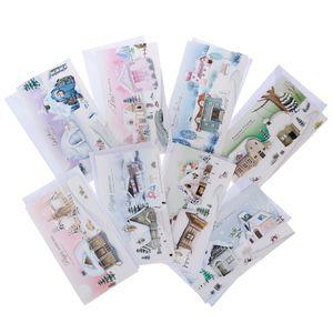 8pcs / set Frohe Weihnachten Grußkarten mit Umschlägen Weihnachtsgeschenkkarten d Farbe D