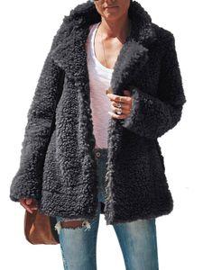 Frauen Winter Plüsch warmer Mantel Fleece Jacke Outwear,Farbe: schwarz,Größe:S
