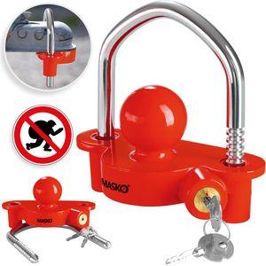 MASKO® Anhängerschloss für gängige Anhängerkupplung einfache Montage Diebstahlschutz Diebstahl Anhänger Sicherung 2 Schlüssel extra sicher Kreuzschloss, Farbe:Rot