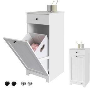 SoBuy BZR21-W Wäscheschrank mit ausklappbarem Wäschesack Wäschetruhe Wäschesammler mit Schubladen Wäschekorb Badschrank Weiss