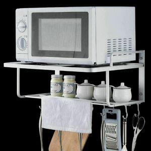Mikrowellenhalter Ablage mit Haken Mikrowelle Halterung Wandregal  Alu Küchenregal Lagerung Wandhalterung