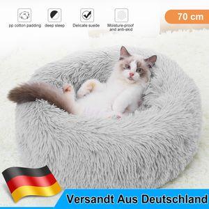 Weiches Plüsch Rundes Haustierbett Katze Weiches Bett Katzenbett für Katzen Kleine Hunde【Hellgrau + 70cm】