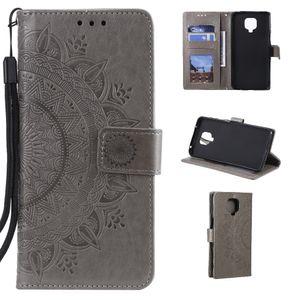 Xiaomi Redmi Note 9 Pro Handy Hülle Flip Case Cover Etui Mandala Grau