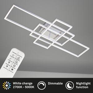 LED Deckenleuchte dimmbar Fernbedienung CCT 55 W Chrom-Alu Briloner Leuchten