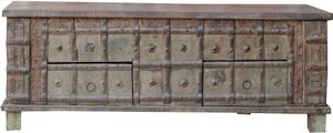 Antike Holzbox,Holztruhe, Couchtisch, Kaffetisch aus Massivholz, Aufwändig Beschnitzt - Modell 29, Braun, 41*114*59 cm, Truhen, Kisten, Koffer