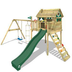 WICKEY Spielturm Klettergerüst Smart Plaza mit Schaukel & grüner Rutsche, Stelzenhaus mit Kletterleiter & Spiel-Zubehör