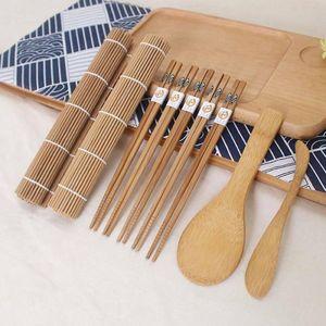 9 Stück Bambus Sushi Kit - 2 Rollmatte, 5 Paar Essstäbchen, 1 Löffel, 1 Messer