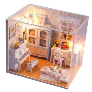 DIY Montage Miniatur Puppenhaus Zimmer Holz Kit LED Weihnachten