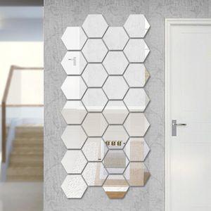 12 stueck 3d hexagon acryl spiegel wandaufkleber diy kunst dekoration wandaufkleber wohnkultur wohnzimmer spiegel aufkleber dekorative silber medium 12,6 * 12,6 cm (12 fuer einen satz)