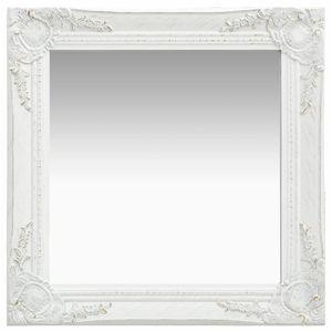 vidaXL Wandspiegel im Barock-Stil 50x50 cm Weiß