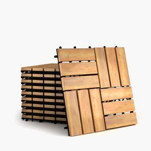 COSTWAY 10er Set 30x30cm Terrassenfliesen Holz, Bodenfliesen Akazienholz, Holzfliesen Bodenbelag, Klickfliesen Braun 12 Latten
