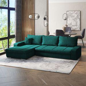 Selsey Ecksofa MARGARITKA  - / Schlafcouch / Veloursbezug Grün wasserbeständig / Ottomane beidseitig montierbar / freistehend,  250 cm breit