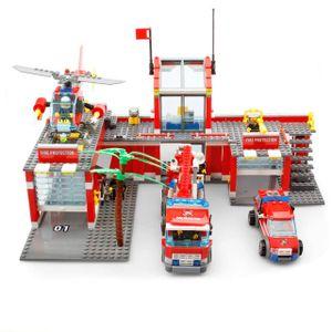 Bausteine Feuerwehrstation,Große City Feuerwehr Wache mit Leiterwagen, Einsatzleitwagen und Feuerwehr Hubschrauber