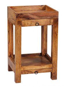 WOHNLING Beistelltisch MUMBAI Massiv-Holz Sheesham 65 cm Wohnzimmer-Tisch mit 2 Schubladen Design Landhaus-Stil Telefontisch