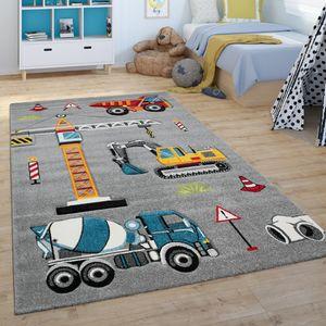 Kinder-Teppich, Spiel-Teppich Für Kinderzimmer, Bagger, Kran, Baustelle, Grau, Grösse:80x150 cm