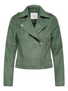 Damen Kustleder Jacke Wildleder Biker Jacket Velour Leder Optik JDY , Farben:Grau, Größe:M