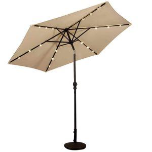 COSTWAY Sonnenschirm mit Solar- LED-Beleuchtung Ampelschirm Gartenschirm Kurbelschirm Strandschirm Garten Schirm 2,7M Beige