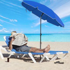SONGMICS Sonnenschirm, 200 cm, Sonnenschutz, achteckiger Strandschirm aus Polyester, Schirmrippen aus Glasfaser, knickbar, mit Tragetasche, Garten, Balkon, Schwimmbad, Blau GPU65BUV1