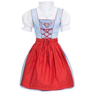 Dirndl 3 tlg.Trachtenkleid Kleid, Bluse, Schürze, Gr. 34-46 hellblau kariert 46