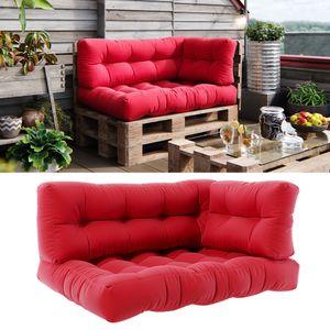 Vicco Palettenkissen Set Sitzkissen + Rückenkissen + Seitenkissen 15cm hoch Palettenmöbel Flocke rot