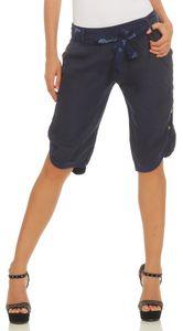 281 Bermuda Shorts Damen Capri 100% Leinen lockere kurze Hose Freizeithose Shorts mit Gürtel und Knöpfen  Dunkelblau XXL