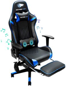 SW2 Gaming Stuhl mit Lautsprecher Bürostuhl Schreibtischstuhl Musik Audio Gamer Stuhl Drehstuhl Ergonomisches Design PC Stuhl Multi-Funktion E-Sports Chefsessel blau gtracing Series