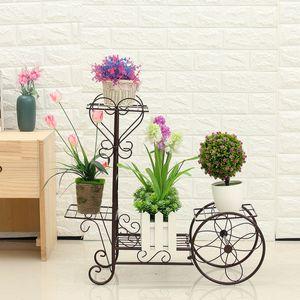 Sunnyme Blumentreppe mit 4 Etagen aus Metall in Braun Pflanzentreppe Pflanzenregal für Ecke Blumenständer Blumenregal Pflanzenständer