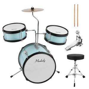 Muslady 12 Zoll 3-teiliges Kindertrommelset mit verstellbarem Thron-Beckenpedal Drumsticks Musikinstrument fuer