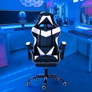 2021 Gaming Stuhl Massage mit Fußstütze Bürostuhl Massage Lendenkissen Drehstuhl Racing Armlehne Kunstleder hohe Rückenlehne