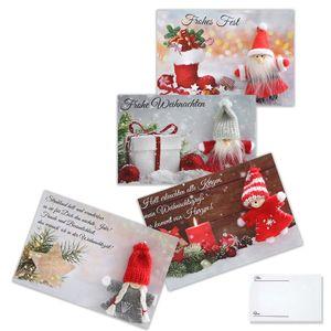 Wichtel Weihnachtskarten 4er Satz Grußkarte Geschenkkarte Weihnachtsartikel