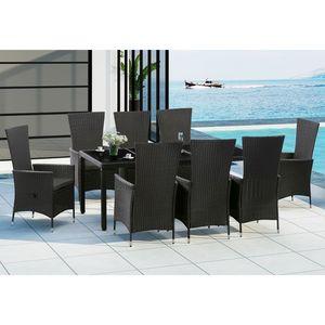Polyrattan Sitzgruppe Rimini Plus 9-teilig & wetterfest – Gartenmöbel Set mit Tisch & 8 Stühle - Essgruppe für 8 Personen - schwarz mit grau | Juskys