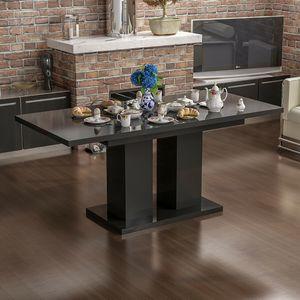 Esstisch, Tisch ,Esszimmertisch, Küchentisch ,Säulentisch ausziehbar schwarz Hochglanz