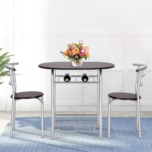 Esstisch mit 2 Stühlen Schwarz Esszimmer Essgruppe für Esszimmer Kombipakete Küchentisch,Tresentisch,Sitzgruppe