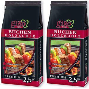 giRo Grillkohle Holzkohle  Buchen Holzkohle 2x 2.5kg