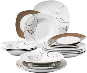 VEWEET Tafelservice 'Nikita' aus Porzellan 18 teilig   Tellerset für 6 Personen   Mit je 6 Dessertteller, Suppenteller und Speiseteller