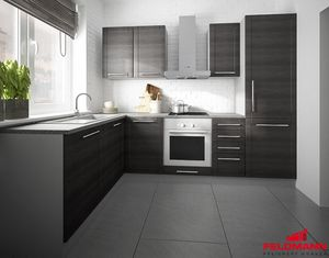 Küchenzeile L-Form grau / fino schwarz 140x250cm Neu