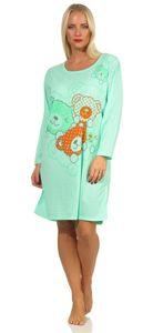 Damen Nachthemd Langarm Sleepshirt mit Bär-Muster, Grün M