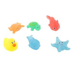 6pcs / Set Gummi Quietschende Tiere Badespielzeug, Baby Badewanne Spielzeug, Wasserspielzeug für Kinder Geschenk - Mehrfarbig