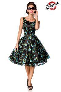 Belsira Premium Vintage Blumenkleid schwarz/blau S