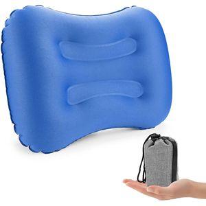 Tragbare TPU Polyseter Aufblasbare Camping Kissen, Mini Reise Luft Hals Kissen für Schlafen Rest Entspannende, blau