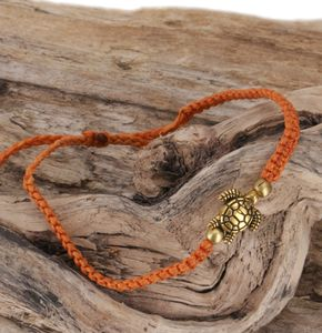 Ethno Schildkröten Perlenarmband, Makramee Armband - Orange, Armreifen & Armbänder Modeschmuck