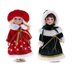 2pcs 12 Zoll Porzellanpuppe Viktorianische Mädchen Stehende Figuren Spielpuppen Dekoration
